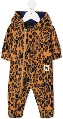 Mini Rodini Leopard-Print Hooded Fleece Romper
