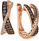 LeVian Le Vian Diamond Chocolate Diamond and White Diamond Crisscross Hoop (1 ct. t.w.) in 14k Rose Gold