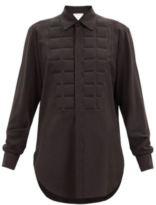 Bottega Veneta Quilted Silk Crepe De Chine Shirt - Brown