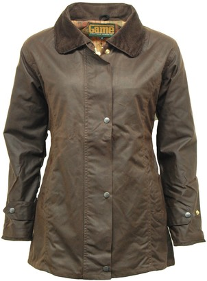 Game Technical Apparel Ladies D42 Classic Antique Wax Jacket with Fitted Shape & Tartan Lining (XS