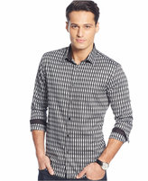 Alfani Big and Tall Long-Sleeve Herringbone Striped Shirt