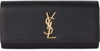 Saint Laurent Black Classic Monogram Leather Clutch