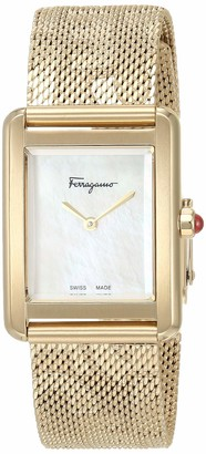 Salvatore Ferragamo Stainless Steel Analog Quartz Watch with Fine Silver Strap Clear 18 (Model: 7630030546365)
