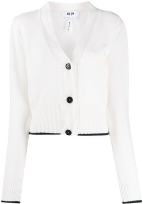 MSGM Cropped Cashmere-Wool Knit Cardigan