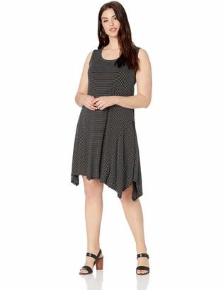 Karen Kane Women's Plus Size Stripe Handkerchief Hem Dress