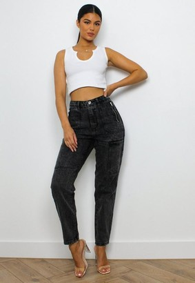 Missguided Black Utility Zip Pocket Mom Jeans