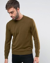 Ps By Paul Smith Crew Knit Jumper In Khaki