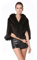 MEEFUR Women's Natural Mink Fur Knitted Cappa Cloak Mantle with Fox Fur Collar