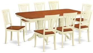 East West Furniture Traditional Buttermilk and Cherry Finish Solid Rubberwood Nine-Piece Dining Set With Extendable Table and Eight Chairs