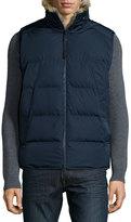 Andrew Marc Rabbit Fur-Lined Vest, Navy