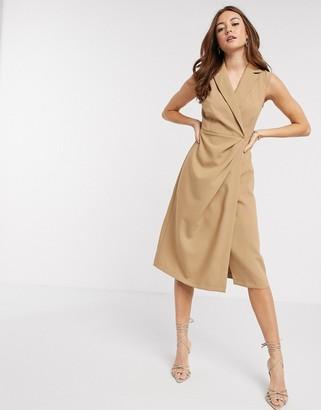 Closet London wrap midi dress in camel