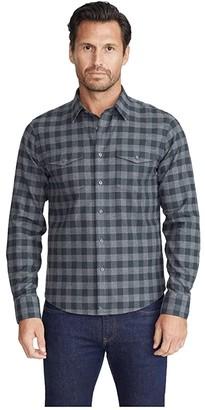 Untuckit UNTUCKit Heavyweight Wrinkle-Free Flannel Vigouroux Shirt (Grey Plaid) Men's Clothing