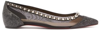 Christian Louboutin Galativi Spike-embellished Leather And Mesh Flats - Black Silver