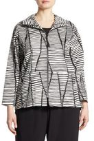 Caroline Rose Lines & Vines Striped Stretch-Cotton Jacket