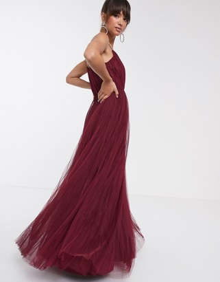ASOS DESIGN cami pleated tulle maxi dress in oxblood