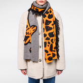 Paul Smith Women's Burnt Orange And Grey 'Giraffe' Scarf