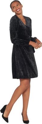 Halston H by Petite Crushed Velvet Blouson Sleeve Knee- Length Dress
