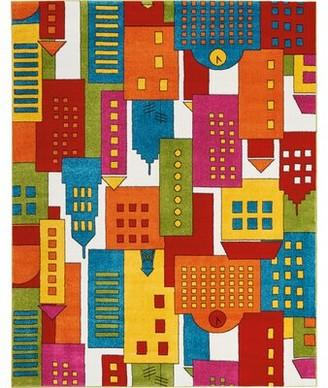 Ebern Designs Chunn Orange/Blue Area Rug Ebern Designs Rug Size: Rectangle 4' x 6'
