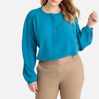 Castaluna Plus Size Mandarin Collar Patch Pocket Blouse