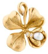 Christian Dior 18K Diamond & Pearl Clover Pendant