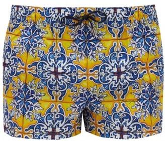 Dolce & Gabbana Geometric Tile-print Swim Shorts - Blue Multi