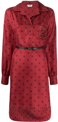 Fendi Karligraphy motif print shirt dress
