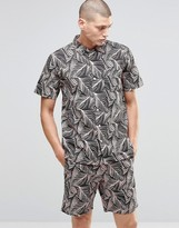 Huf Short Sleeve Shirt With Tropical Print In Regular Fit