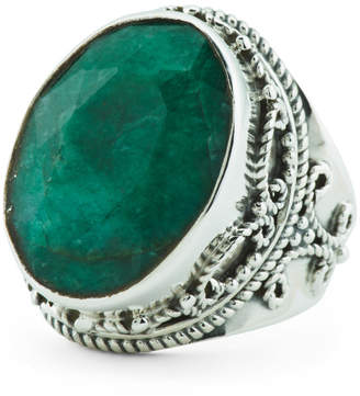 Made In India Sterling Silver Emerald Artisan Ring