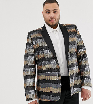 Asos Edition EDITION Plus skinny suit jacket in gray and gold sequins