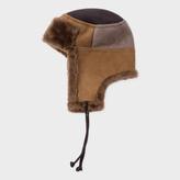 Paul Smith Men's Brown Colour-Block Sheepskin Chapka Hat