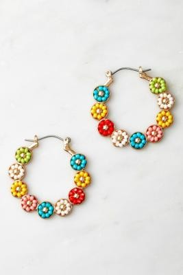 Urban Outfitters Beaded Floral Hoop Earrings - Assorted ALL at