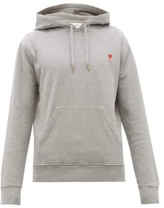 Ami Logo Applique Cotton Hooded Sweatshirt - Mens - Grey