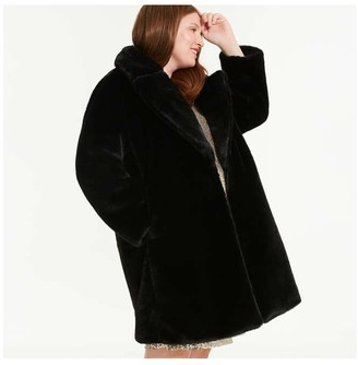 Joe Fresh Women+ Faux Fur Coat, JF Black (Size 1X)