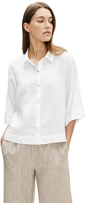 Eileen Fisher Classic Collar Elbow Sleeve Shirt (Powder) Women's Clothing