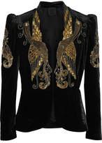 Anna Sui Phoenix Embellished Velvet Jacket - Black