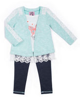 Little Lass Girls 2-6x Lace Cardigan and Leggings Set