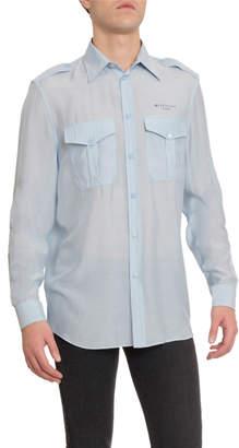 Givenchy Men's Silk-Blend Military Sport Shirt