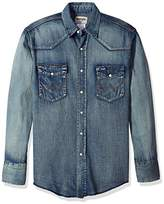 Wrangler Men's Motorcycle Denim Antique Indigo Shirt