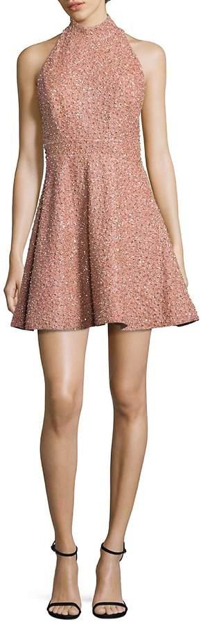 Alice + Olivia Women's Hollie Silk Embellished Mockneck Dress