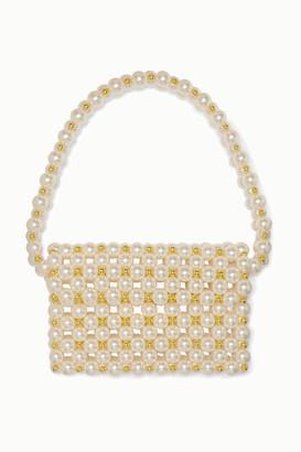 VANINA Reveries Faux Pearl And Gold-tone Beaded Shoulder Bag - Cream