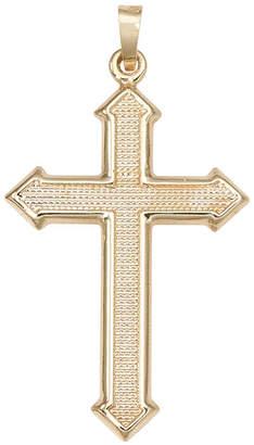 FINE JEWELRY 14K Yellow Gold Large Beaded Passion Cross Charm Pendant