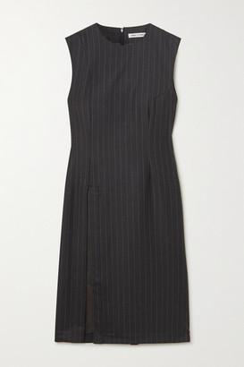 WRIGHT LE CHAPELAIN Draped Pinstriped Wool Dress - Charcoal
