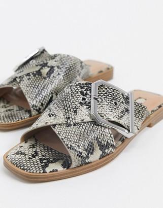 Topshop buckled sandals in snake print