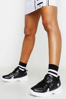 boohoo Chunky Sole Lace Up Hiker Trainers