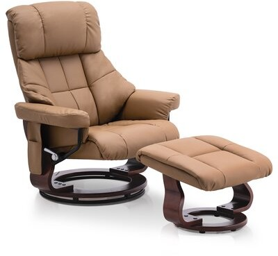 Red Barrel Studio Huttonsville Faux Leather Manual Swivel Recliner With Ottoman Fabric Ivory Shopstyle