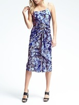 Banana Republic Piece & Co. Strappy Twist-Front Batik Silk Dress