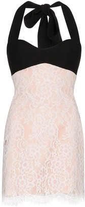 Rasario Halterneck Lace Mini Dress