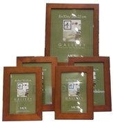 """MCS Flat-top Wood Picture Frame Set of 5, 1"""" Width, 2 - 4X6, 2 - 5X7, 1 - 8X10, Color: Chestnut."""