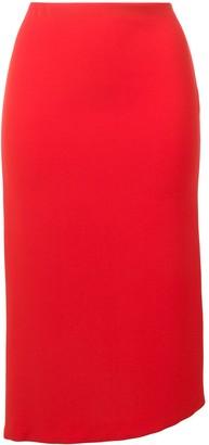 Poiret Asymmetric Hem Midi Skirt