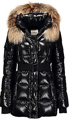 SAM. Women's Millennium Fox Fur-Trim Belted Down Puffer